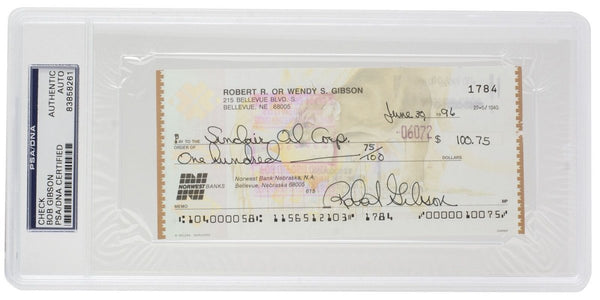Bob Gibson Signed Slabbed Cardinals Personal Bank Check #1784 PSA/DNA - Sports Integrity
