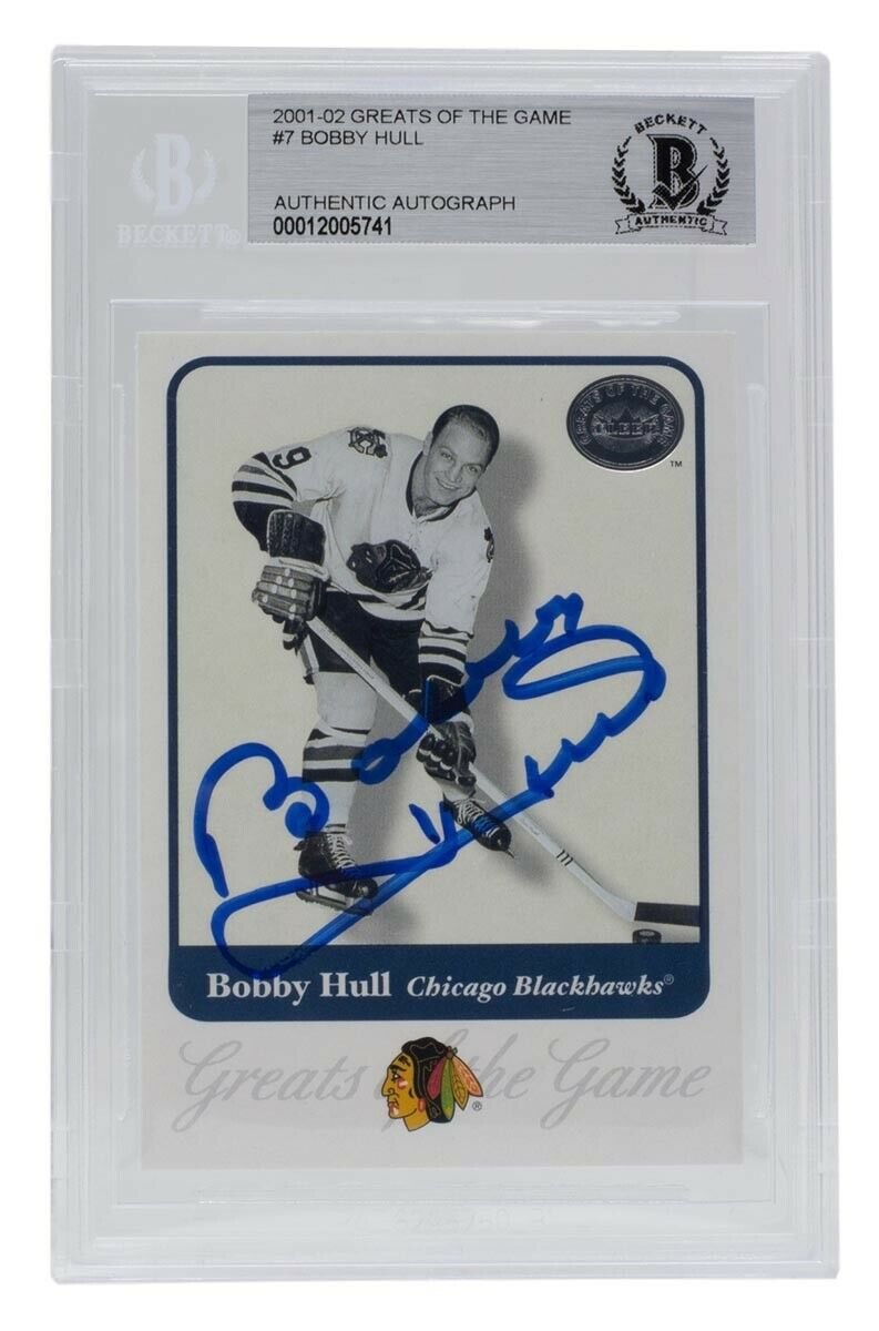 Bobby Hull Blackhawks Signed 2001-02 Greats of the Game #7 Card BAS - Sports Integrity