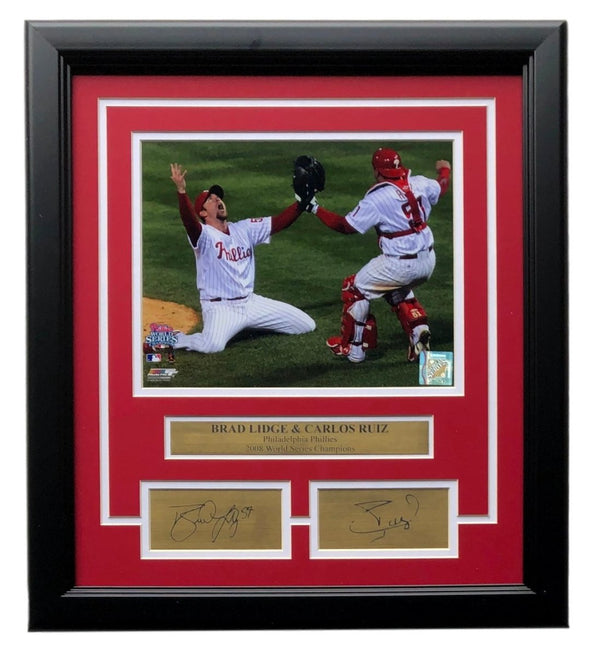 Brad Lidge Carlos Ruiz Framed 8x10 World Series Photo Laser Engraved Signature - Sports Integrity