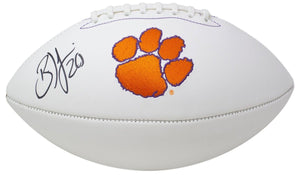Brian Dawkins Signed Clemson Tigers White Logo Football JSA ITP - Sports Integrity