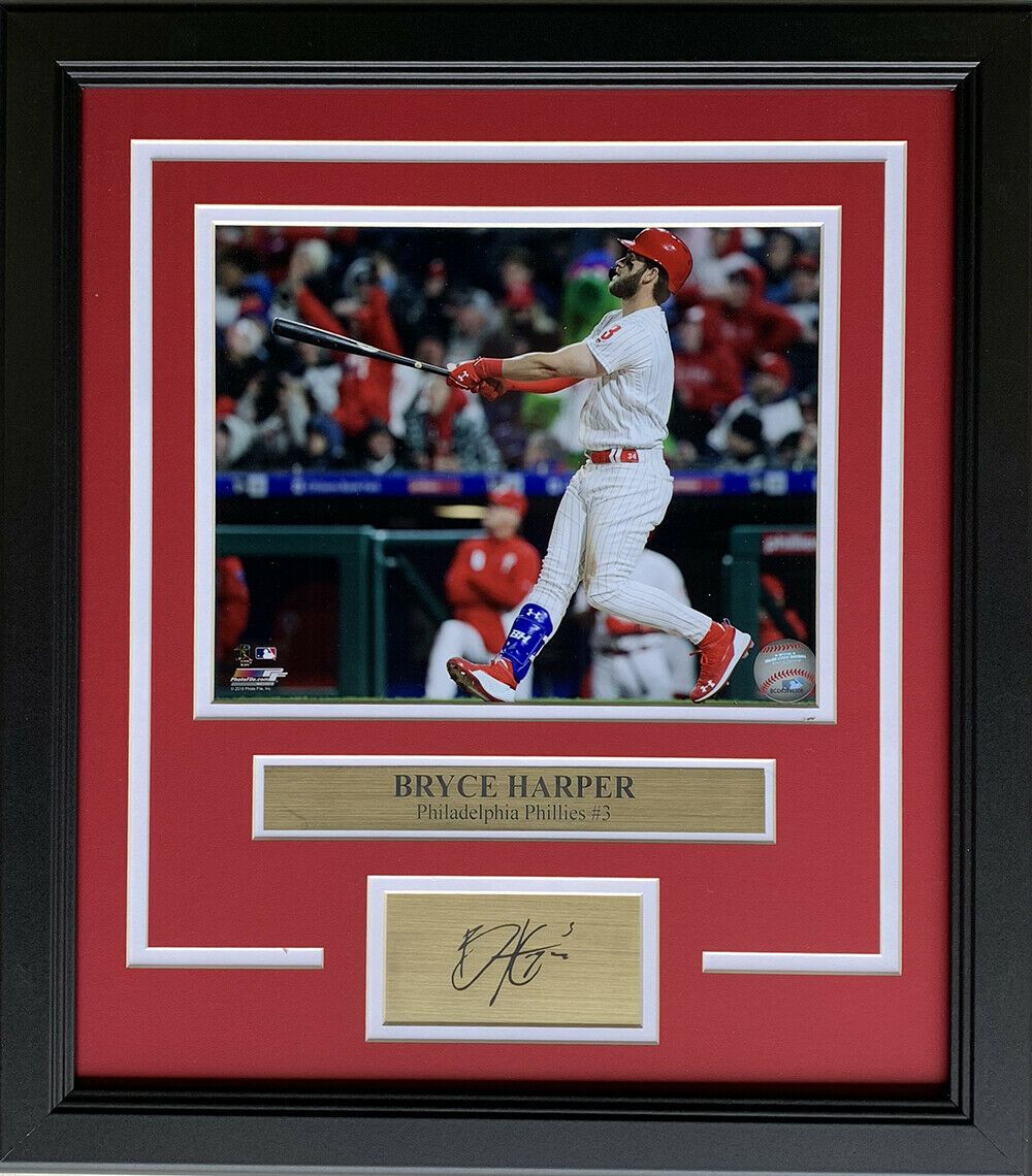 Bryce Harper Framed 8x10 Phillies Photo w/ Laser Engraved Signature - Sports Integrity