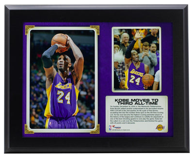 Kobe Bryant Los Angeles Lakers 11x13 3rd All Time Plaque