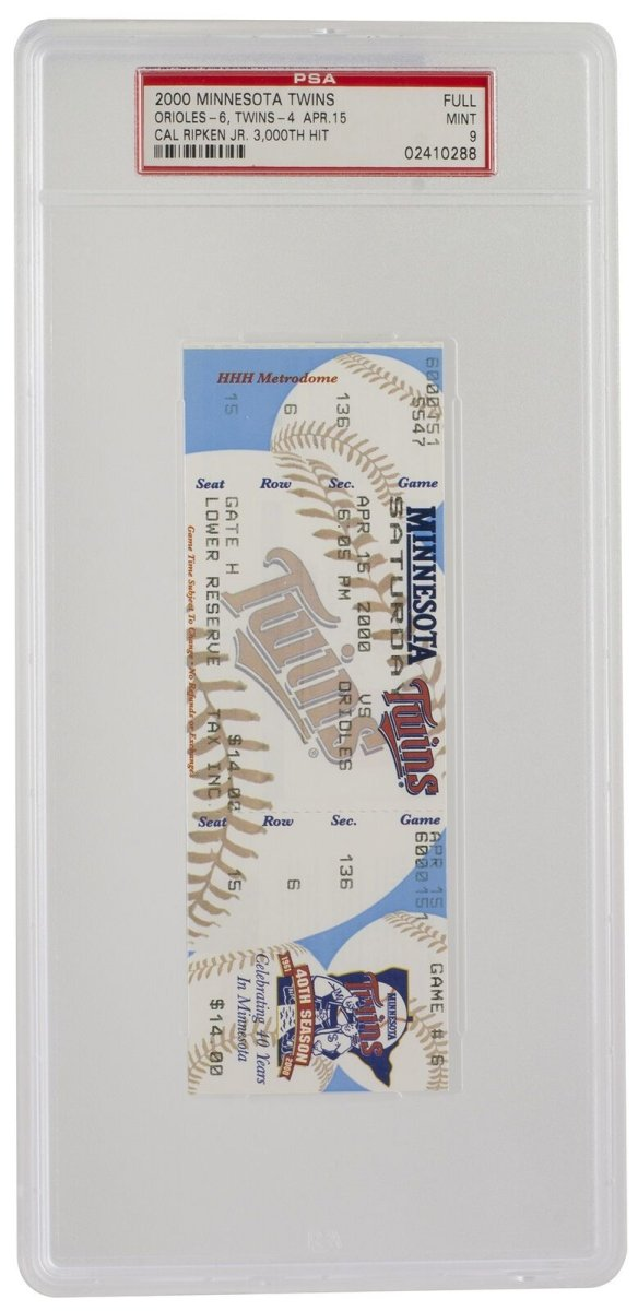 Cal Ripken 3000th FULL Hit Ticket Minnesota Twins 4/15/2000 PSA 288 MT9 - Sports Integrity