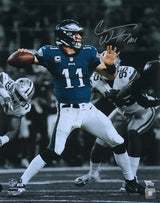 Carson Wentz Signed 16x20 Philadelphia Eagles Spotlight Photo Fanatics - Sports Integrity