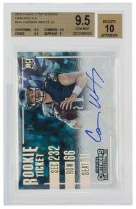 Carson Wentz Signed 2016 Panini #342 Cracked Ice Card BGS 9.5 Auto 10 - Sports Integrity