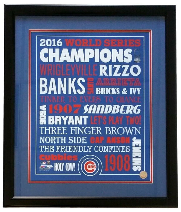 Chicago Cubs 16x20 Framed 2016 World Series Word Photo - Sports Integrity