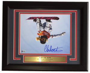 Chloe Kim Signed Framed 8x10 Flip Photo Olympic Gold Medalist BAS Witnessed