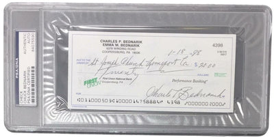 Chuck Bednarik Eagles Signed Slabbed Personal Bank Check PSA 84075590 - Sports Integrity