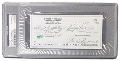 Chuck Bednarik Eagles Signed Slabbed Personal Bank Check PSA 84075593 - Sports Integrity