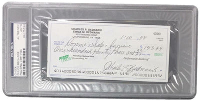 Chuck Bednarik Eagles Signed Slabbed Personal Bank Check PSA 84075594 - Sports Integrity