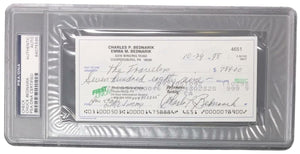 Chuck Bednarik Eagles Signed Slabbed Personal Bank Check PSA 84075595 - Sports Integrity
