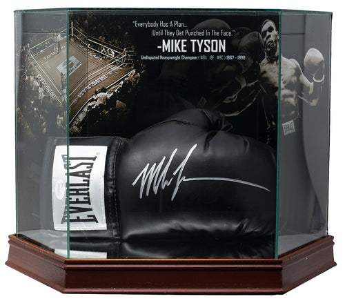 Mike Tyson Signed Blk Boxing Glove In Photo Background Glove Case JSA