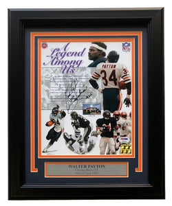 Walter Payton Bears Signed Framed 8x10 Inscribed Sweetness 16,726 Photo PSA