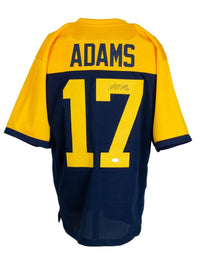 Davante Adams Signed Custom Blue & Yellow Pro Style Football Jersey BAS ITP - Sports Integrity