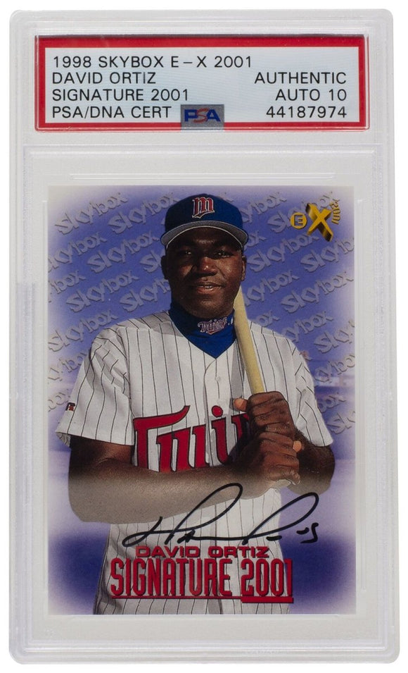 David Ortiz Signed 1998 Skybox Minnesota Twins Card PSA/DNA Auto 10 - Sports Integrity