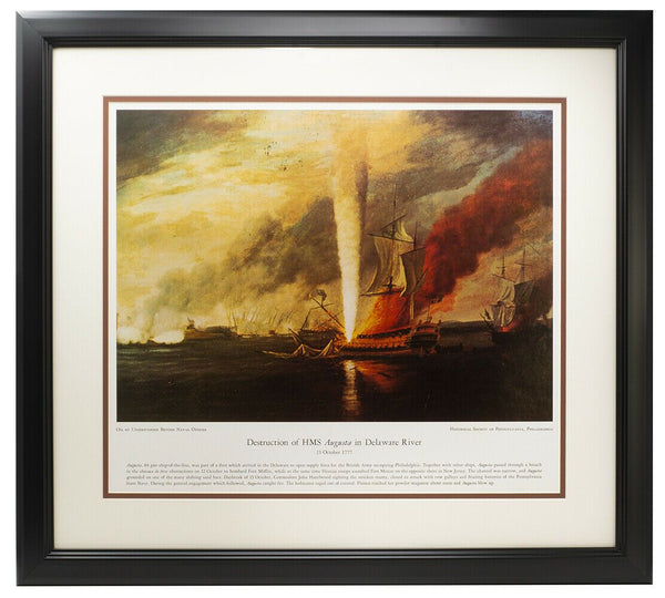 Destruction of HMS Augusta in Delaware River Framed 16x20 Photo - Sports Integrity