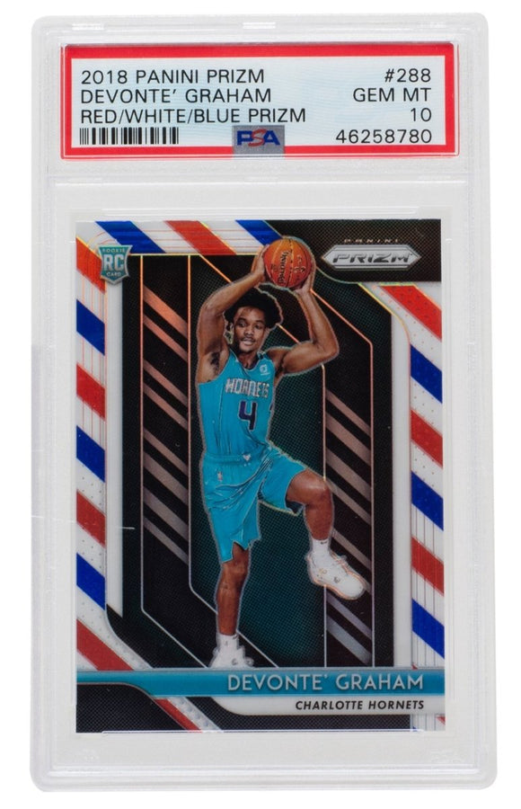 Devonte Graham 2018 Panini RWB #288 Charlotte Hornets Prizm Card PSA GM 10 - Sports Integrity