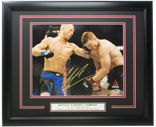 Donald Cowboy Cerrone Signed Framed 11x14 UFC Photo vs. Rick Story BAS - Sports Integrity