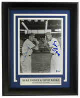 Duke Snider and Ernie Banks Signed Framed 8x10 Baseball Photo BAS - Sports Integrity
