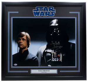 Dave Prowse Signed Framed 16x20 Return the Jedi Photo Darth Vader BAS