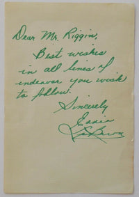 Eddie LeBaron Signed Personalized Letter To Mr. Riggin JSA - Sports Integrity