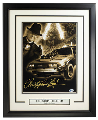 Christopher Lloyd Signed Framed Back To Future 11x14 Collage BAS ITP
