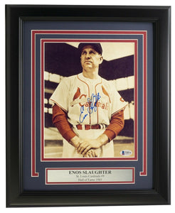 Enos Slaughter Signed Framed 8x10 St. Louis Cardinals Baseball Photo BAS - Sports Integrity