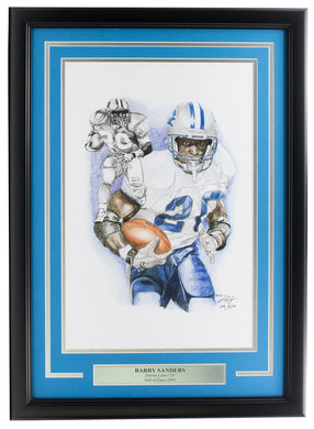 Barry Sanders Framed 12x18 Limited Edition Detroit Lions Lithograph