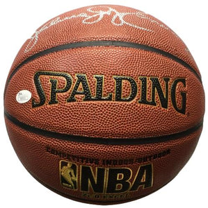 Larry Bird Julius Dr J Erving Signed Spalding Replica NBA Basketball JSA+Bird