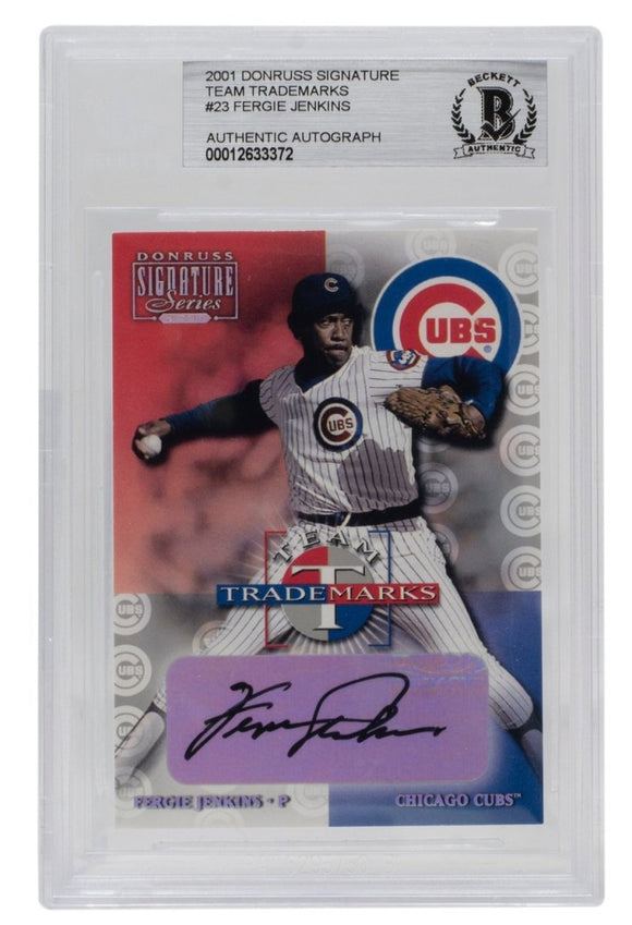 Fergie Jenkins Signed 2001 Donruss #23 Cubs Signature Team Trademarks Card BGS - Sports Integrity