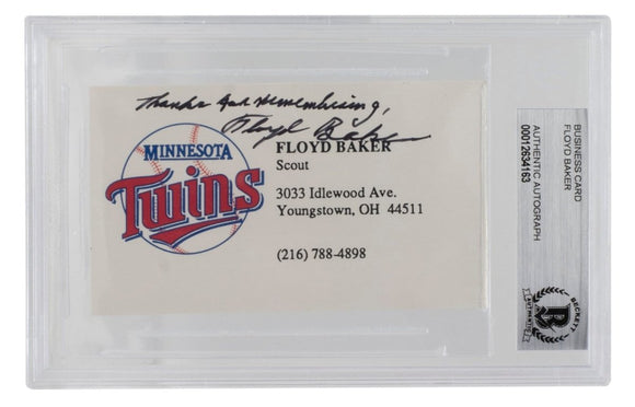 Floyd Baker Signed Minnesota Twins Business Card BGS - Sports Integrity