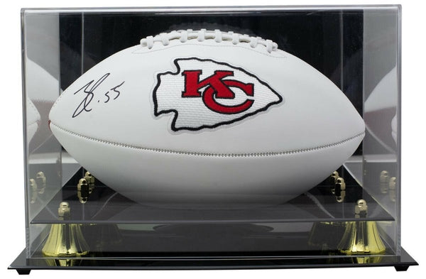 Frank Clark KC Chiefs Signed Super Bowl IV Logo Football w/Case BAS - Sports Integrity