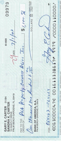 Gary Carter Signed Personal Check #09979 7/1/2003 BAS - Sports Integrity