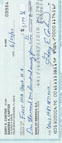 Gary Carter Signed Personal Check #09984 6/24/2003 BAS - Sports Integrity