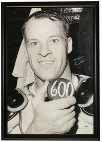 Gordie Howe Signed 41x27 Canvas 600 Goal Photo Insc Mr. Hockey BAS - Sports Integrity