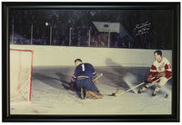 Gordie Howe Signed 41x27 Red Wings Canvas Photo Hockey 1071 Goals BAS - Sports Integrity