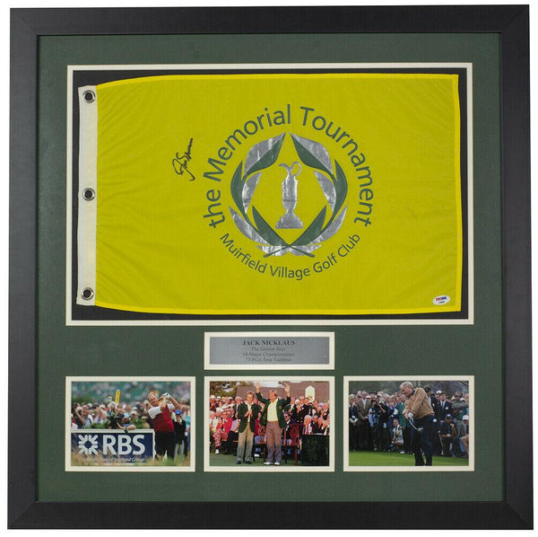 Jack Nicklaus Signed Framed Memorial Tournament Flag w/Photos PSA/DNA - Sports Integrity