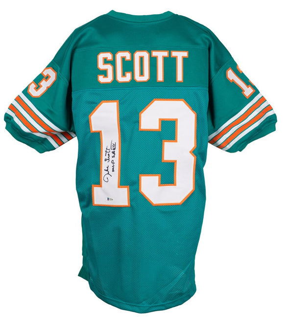 Jake Scott Signed Custom Teal Pro Style Football Jersey MVP SB VII BAS - Sports Integrity