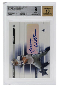 Jason Witten Signed 2003 Leaf Rookies & Stars #217 Cowboys RC Slabbed BAS 9 - Sports Integrity