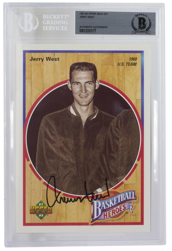 Jerry West Signed Slabbed 1991-92 Lakers 5x7 UpperDeck Photo BGS 177 - Sports Integrity