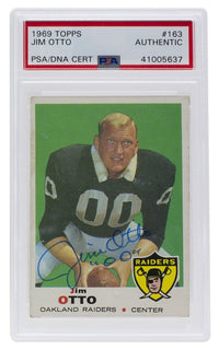 Jim Otto Oakland Signed 1969 Topps #163 Slabbed Card PSA/DNA - Sports Integrity