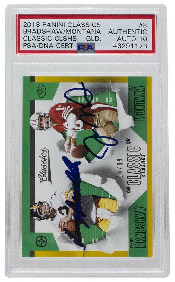 Joe Montana & Bradshaw Signed 2018 Panini #8 Classics Clash Card PSA/DNA 10 Auto - Sports Integrity