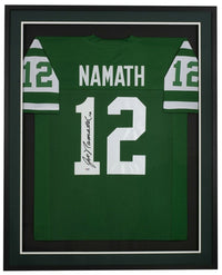 Joe Namath Signed Framed Custom Green Pro Style Football Jersey PSA/DNA - Sports Integrity