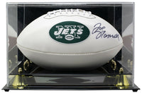 Joe Namath Signed New York Jets White Logo Football w/Case BAS - Sports Integrity