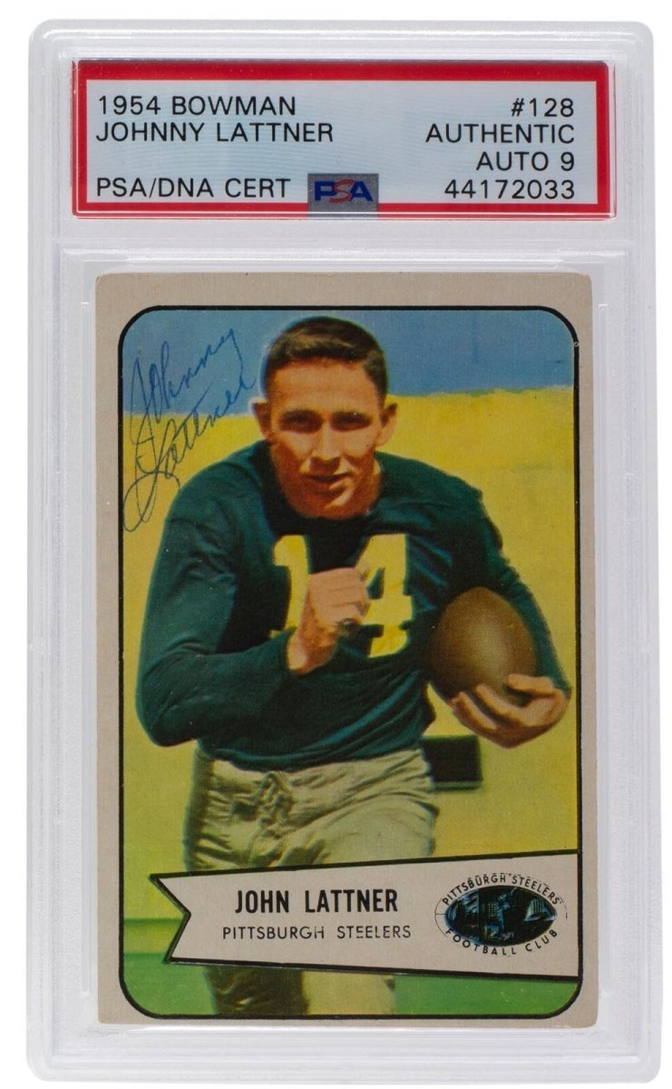 Johnny Lattner Signed 1954 Bowman #128 Card Auto 9 Slabbed PSA/DNA - Sports Integrity