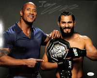 Jorge Masvidal Signed 11x14 UFC Photo with The Rock JSA ITP - Sports Integrity