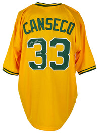 Jose Canseco Signed Custom Yellow Pro Style Baseball Jersey JSA