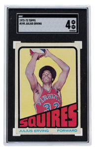 Julius Erving 1972 Topps #195 Virginia Squires Basketball Card SGC VG-EX 4 - Sports Integrity