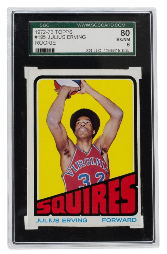 Julius Erving 1972 Topps #195 Virginia Squires Rookie Basketball Card SGC EX-NM6 - Sports Integrity