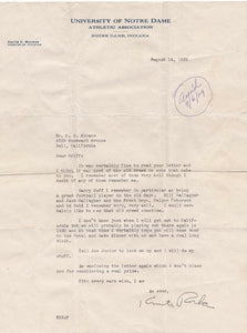 Knute Rockne Notre Dame Signed Letter 8/14/1929 PSA Auto 9 LOA AH41177 - Sports Integrity
